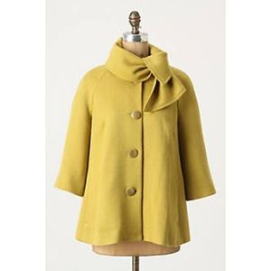 Anthropologie Tabitha Ascot Button Swing Coat